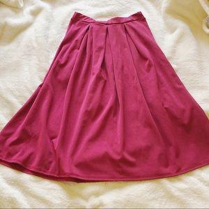 Calf Length Pleated Skirt